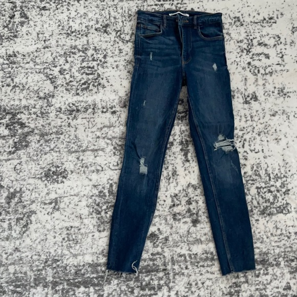 Zara dark blue skinny jeans with ripped details